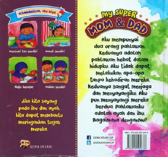 Cover Belakang Buku My Super Mom and Dad (Seri Bilingual)