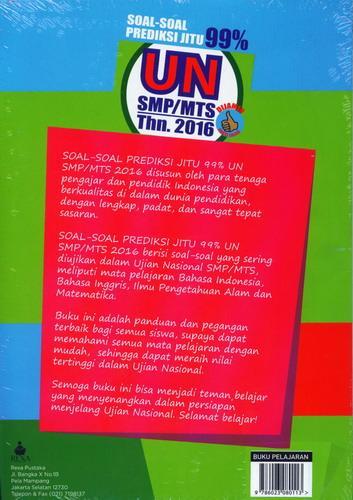 Cover Belakang Buku Soal-Soal Prediksi Jitu 99% UN SMP/MTS 2016