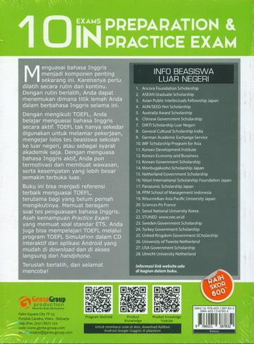 Cover Belakang Buku 10 Exams In Preparation dan Practice Exam TOEFL