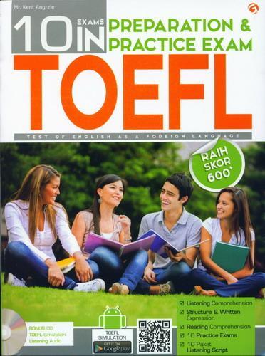 Cover Buku 10 Exams In Preparation dan Practice Exam TOEFL