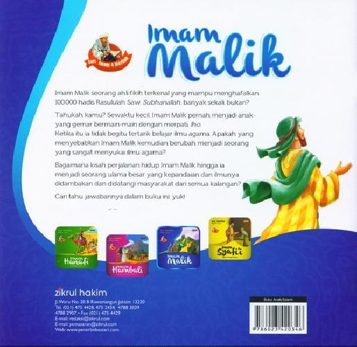 Cover Belakang Buku Imam Malik Ulama Pencinta Hadis (full color)