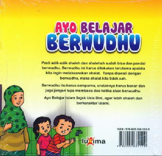 Cover Belakang Buku Seri Belajar Islam Sejak Usia Dini 6 : Ayo belajar Berwudhu
