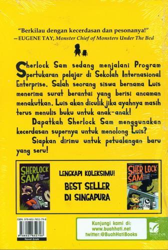 Cover Belakang Buku Sherlock Sam dan Surat Ancaman di Bras Basah