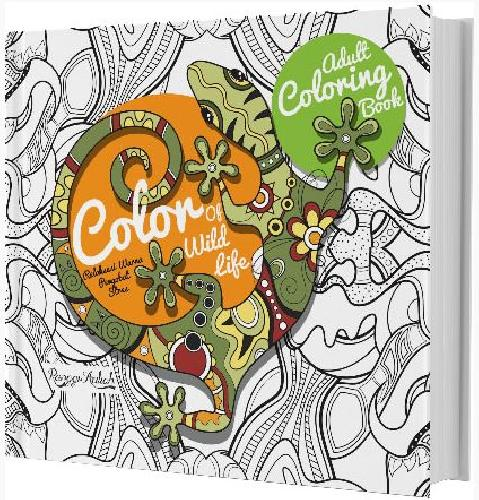 Cover Buku Adult Coloring Book : Color Of Wild Life