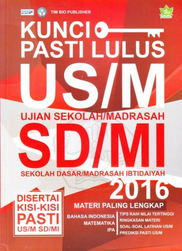 Cover Buku Kunci Pasti Lulus US/M SD/MI 2016