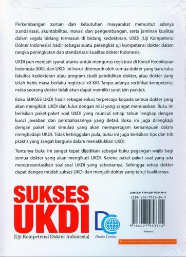 Cover Belakang Buku Sukses UKDI (Ujia Kompetensi Dokter Indonesia)