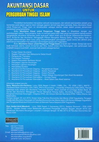 Cover Belakang Buku Akuntansi Dasar Untuk Perguruan Tinggi Islam