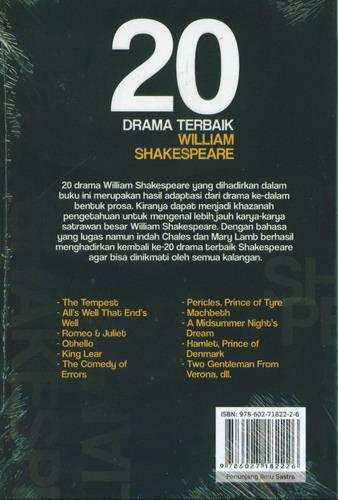Cover Belakang Buku 20 Drama Terbaik William Shakespeare