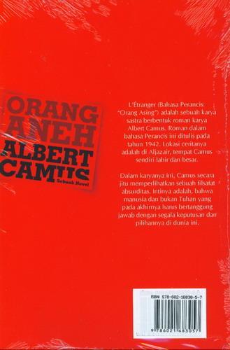 Cover Belakang Buku Orang Aneh Albert Camus Sebuah Novel