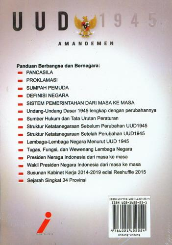 Cover Belakang Buku Panduan Berbangsa dan Bernegara UUD 1945 dan Amandemen
