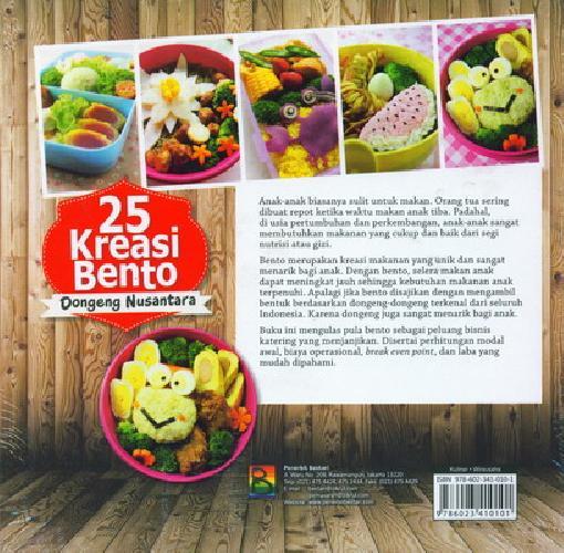 Cover Belakang Buku 25 Kreasi Bento Dongeng Nusantara