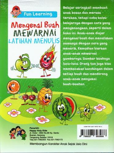 Cover Belakang Buku Mengenal Buah Mewarnai Latihan Menulis (Fun Learning 3+)