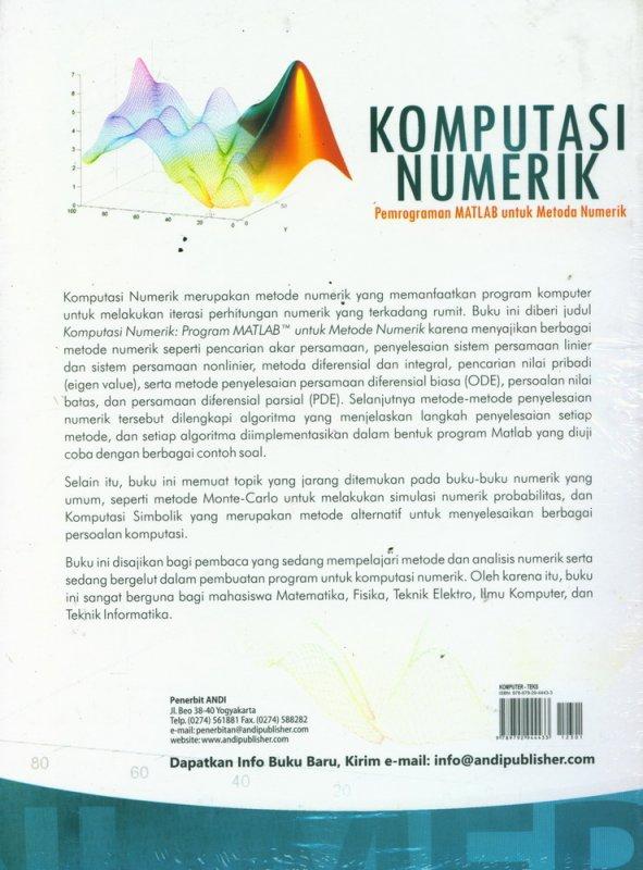Cover Belakang Buku Komputasi Numerik, Pemrograman MATLAB Untuk Metoda Numerik