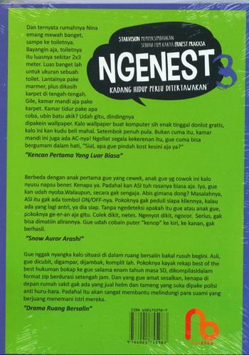 Cover Belakang Buku NGENEST 3 : Ngetawain Hidup Ala Ernest (cover Film)
