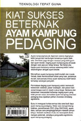 Cover Belakang Buku Kiat Sukses Beternak Ayam Kampung Pedaging (Promo Best Book)
