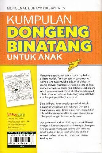 Cover Belakang Buku Kumpulan Dongen Binatang Untuk Anak