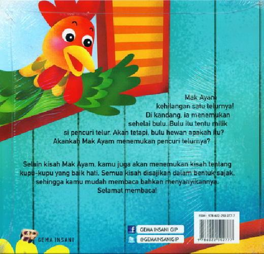 Cover Belakang Buku Seri Fabel Andung Ila : Dimana Telur Mak Ayam?