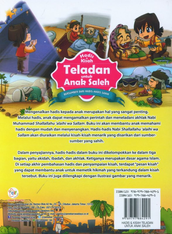 Cover Belakang Buku Hadis dan Kisah Teladan untuk Anak Saleh