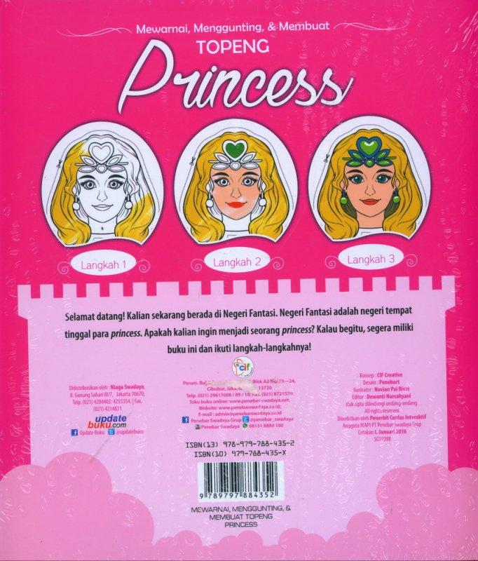 Cover Belakang Buku Mewarnai, Menggunting, & Membuat TOPENG PRINCESS
