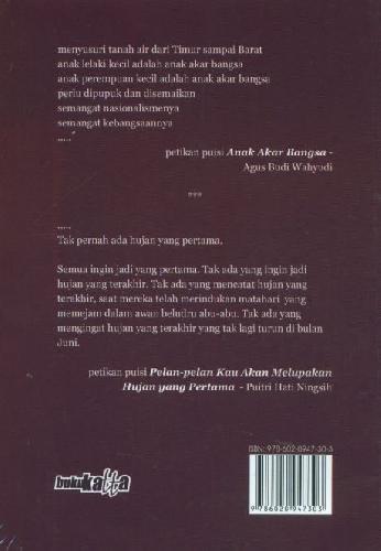Cover Belakang Buku Akar Hujan - Dua Kumpulan Puisi