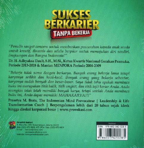 Cover Belakang Buku Sukses Berkarier Tanpa Bekerja