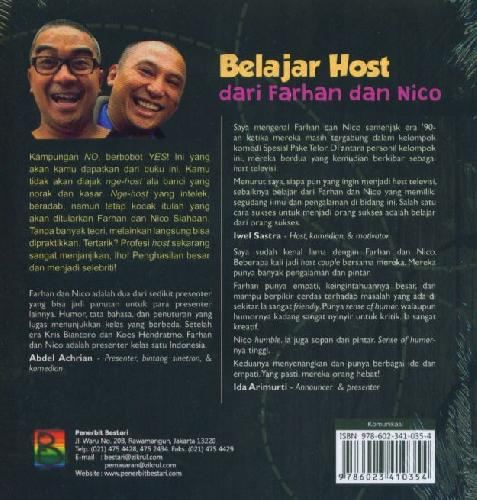 Cover Belakang Buku Belajar Host dari Farhan dan Nico