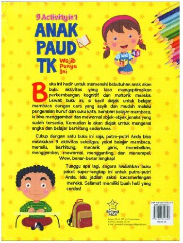 Cover Belakang Buku 9 Activity in 1 Anak Paud TK Wajid Punya Ini