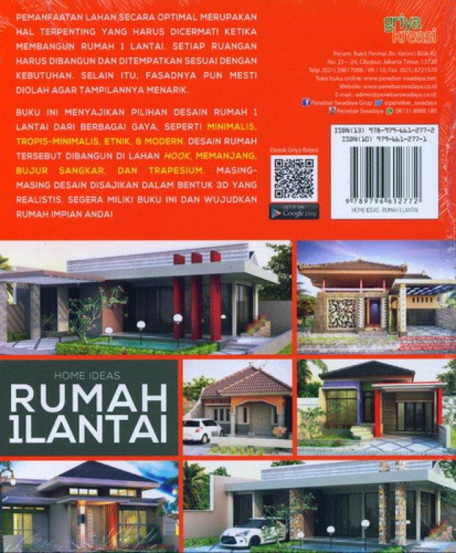 Cover Belakang Buku Home Ideas: Rumah 1 Lantai (72 Desain Rumah Di Lahan)
