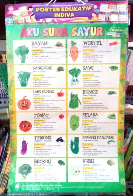 Cover Buku Poster Aku Suka Sayur [Poster Edukatif Indiva]