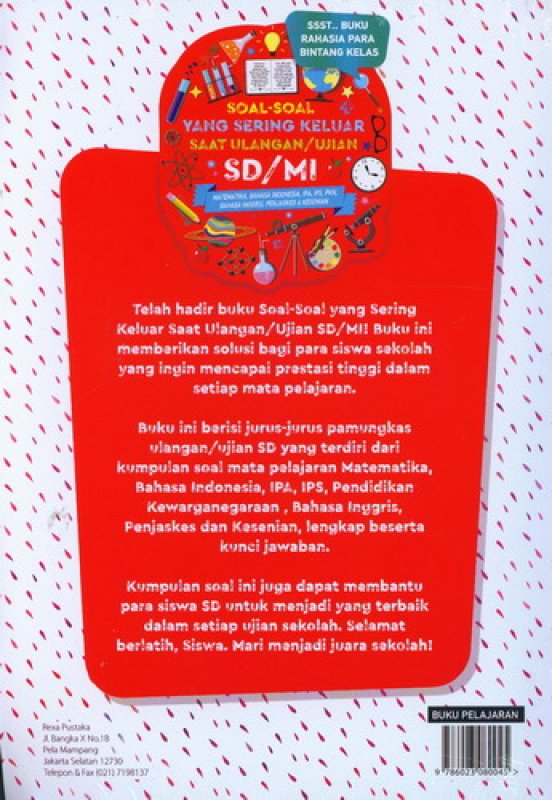 Cover Belakang Buku Soal-Soal Yang Sering Keluar Saat Ulangan/Ujian SD/Mi