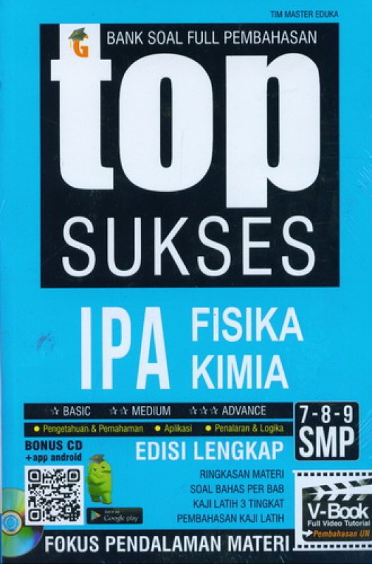 Cover Buku Top Sukses IPA Fisika Kimia SMP 7-8-9 (Bonus CD)