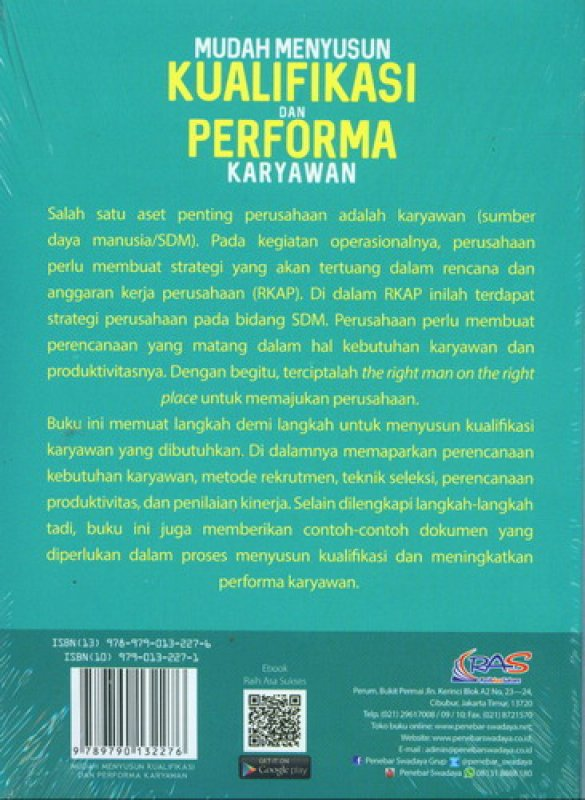 Cover Belakang Buku Mudah Menyusun Kualifikasi Dan Performa Karyawan