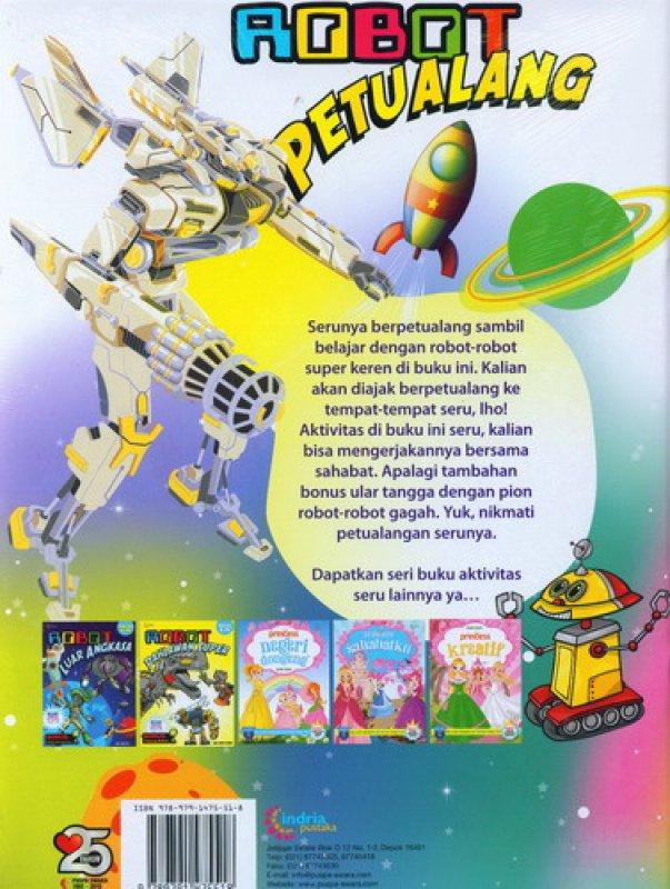 Cover Belakang Buku Robot Petualang [Bonus: Ular Tangga]