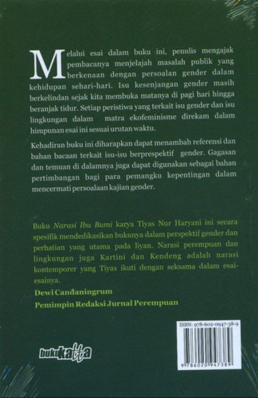 Cover Belakang Buku Narasi Ibu Bumi: Sehimpun Esai