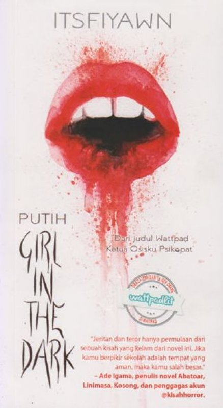 Cover Belakang Buku PUTIH: Girl in the dark
