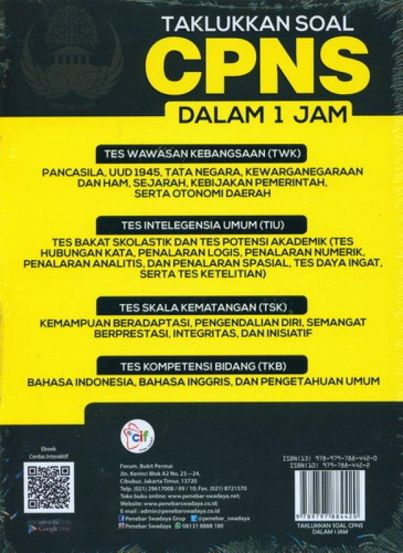 Cover Belakang Buku Taklukkan Soal CPNS Dalam 1 Jam