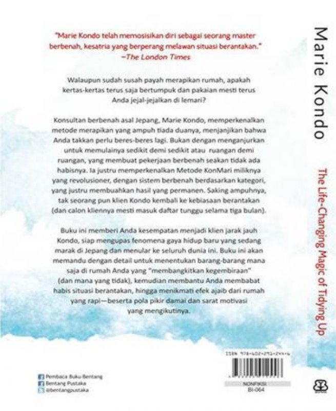 Cover Belakang Buku The Life Changing Magic Of Tidying Up