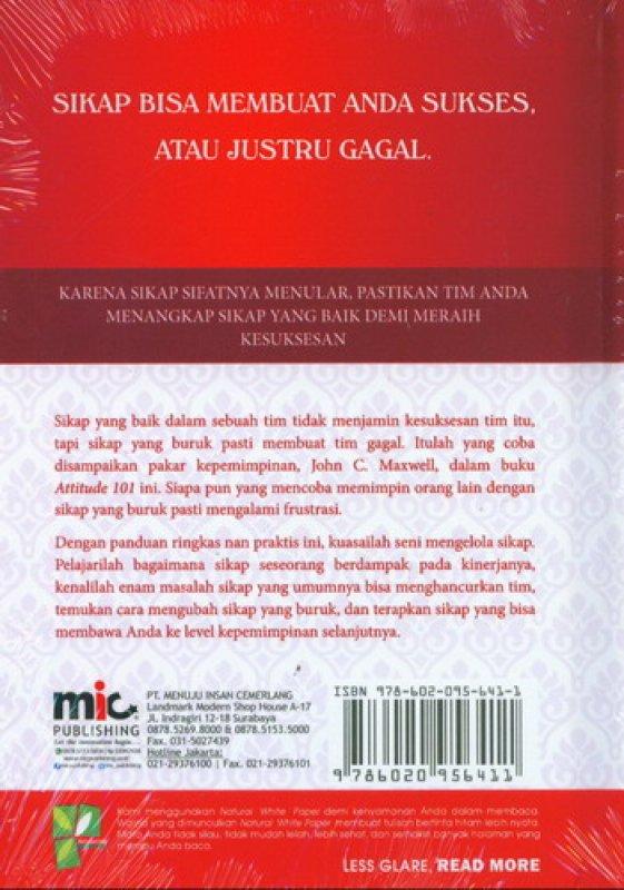 Cover Belakang Buku ATTITUDE 101 (Hal-Hal yang Harus Diketahui Oleh Para Pemimpin) (2016)