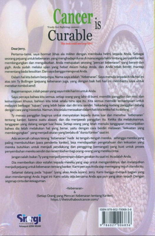 Cover Belakang Buku Cancer is Curable