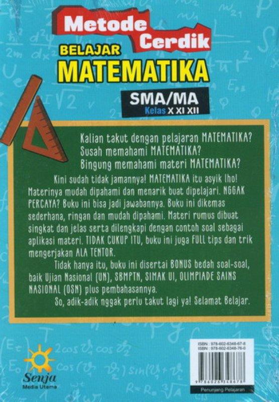 Cover Belakang Buku Metode Cerdik Belajar Matematika SMA/MA Kelas X XI XIII