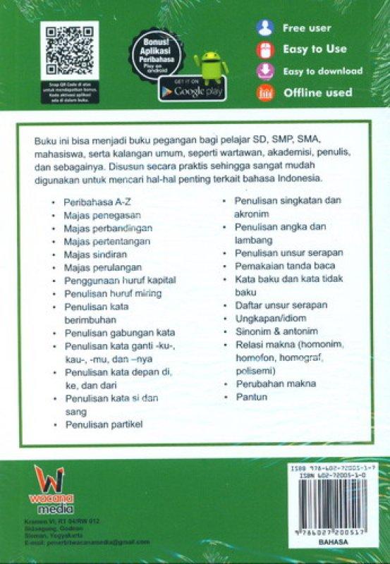 Cover Belakang Buku Buku Pintar Praktis Bahasa Indonesia Untuk SD, SMA, Mahasiswa & Umum
