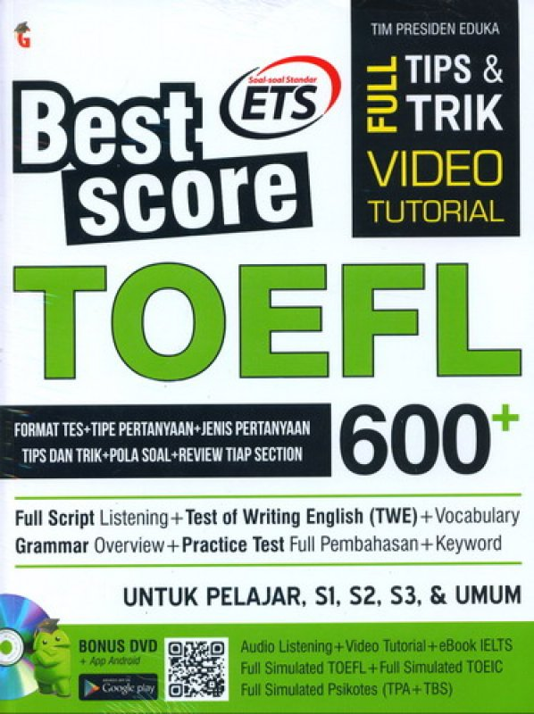 Cover Best Score TOEFL 600+ [Bonus DVD]