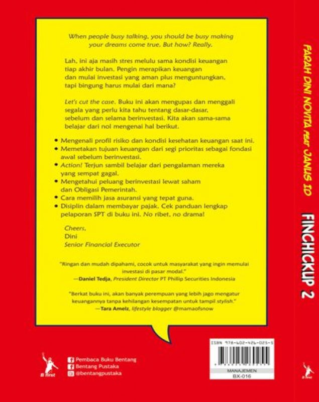 Cover Belakang Buku Finchickup 2: Financial Check Up For Investment Dummies