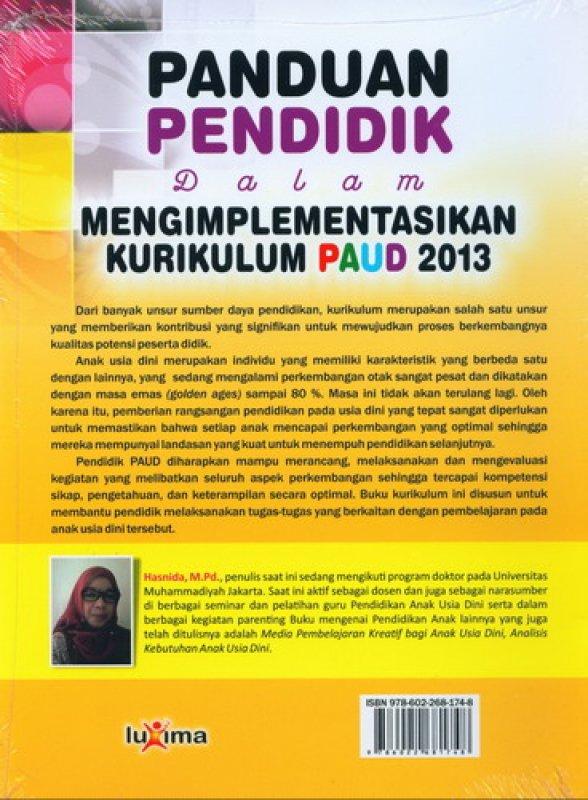 Cover Belakang Buku Panduan Pendidik Dalam Mengimplementasikan Kurikulum PAUD 2013