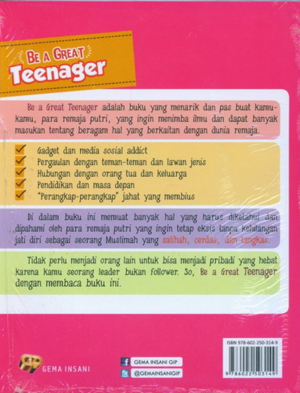 Cover Belakang Buku Be A Great Teenager