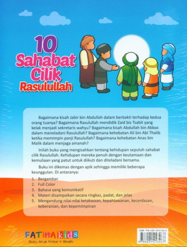 Cover Belakang Buku 10 Sahabat Cilik Rasulullah [full color]
