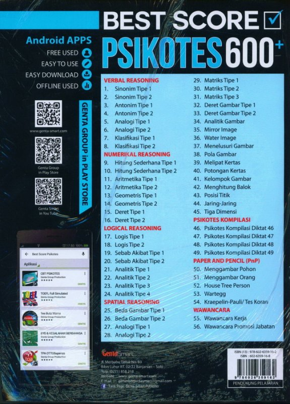 Cover Belakang Buku BEST SCORE PSIKOTES 600+