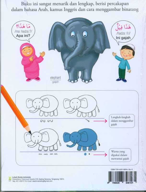 Cover Belakang Buku seri Binatang : Ayo Pintar Bahasa Arab + Inggris dan menggambar
