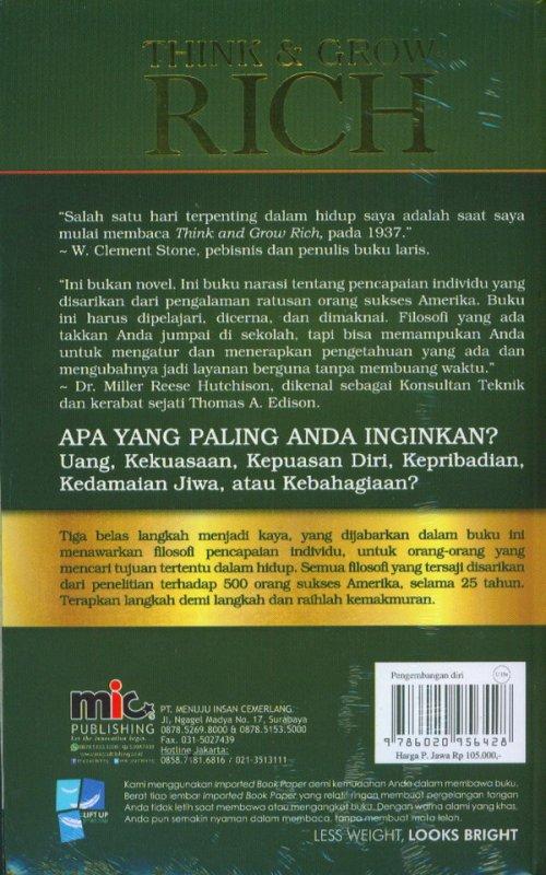Cover Belakang Buku Think & Grow Rich [Soft Cover]