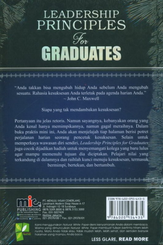 Cover Belakang Buku Leadership Principles For Graduates